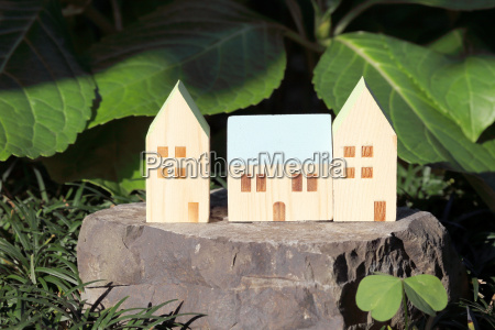 miniature model of house on stone