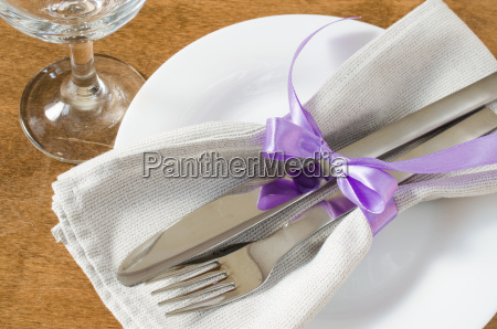 festive table setting with napkin and