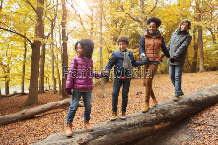 young family holding hands walking on
