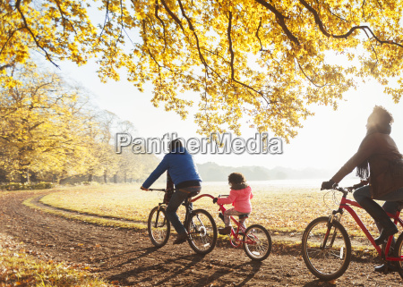 young family bike riding on path
