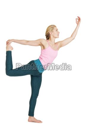 yoga woman pinknatarajasana