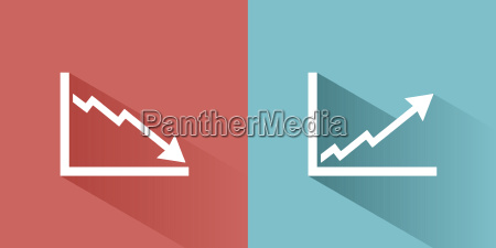 graphic icons with shadow on colored