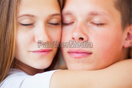 lifestyle beautiful couple in bed