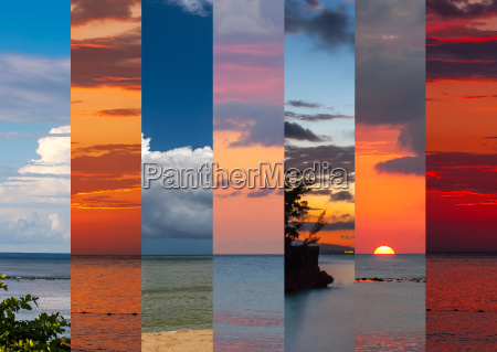 collage of sea shots in sunset