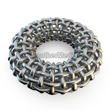 abstract metal mesh torus 3d