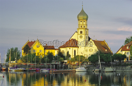 germany wasserburg church on peninsula lake
