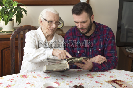 old woman with her husband sitting