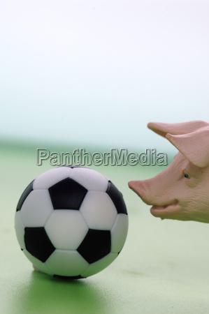 figurine pig with football close up