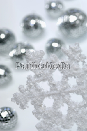 artificial snowflake and christms baubles