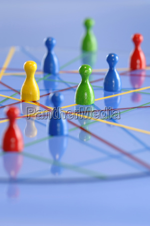 network with figurines close up