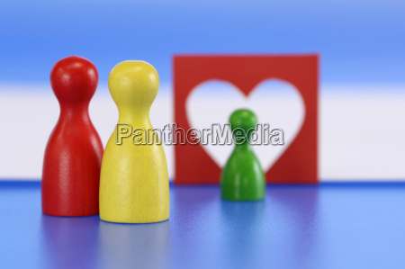 game pieces heart in background