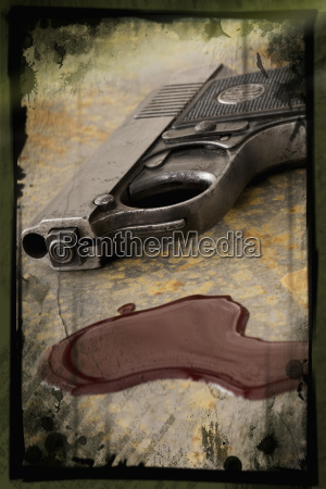 collage pistol and bloodstain