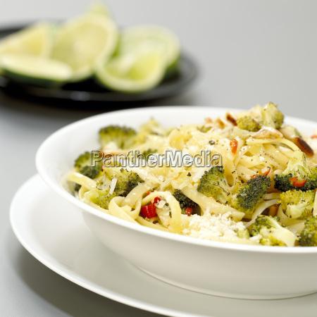 pasta with broccoli and chili close