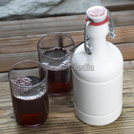 glasses of cherry juice