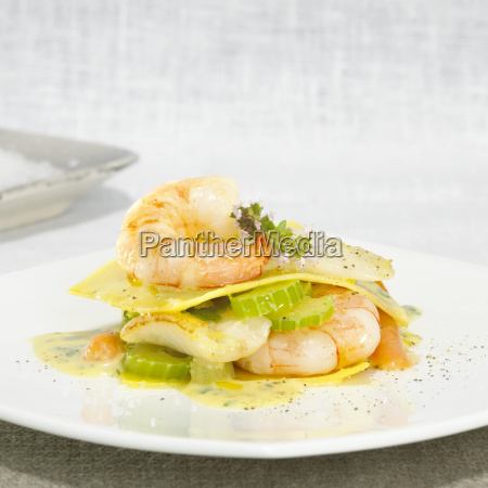 lasagne with shrimps and celery close