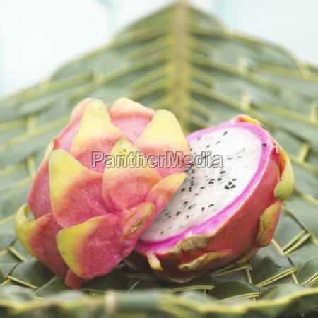 pitahaya halved dragon fruit close up