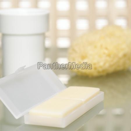 bar of soap and sponge close