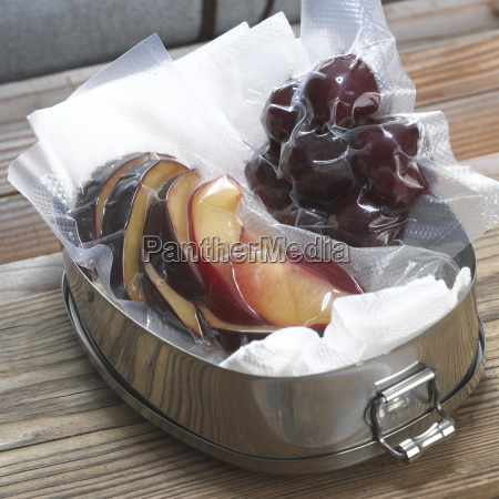 plums and cherries vaccum packed