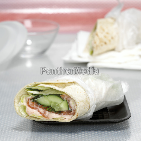wrap filled with smoked salmon close
