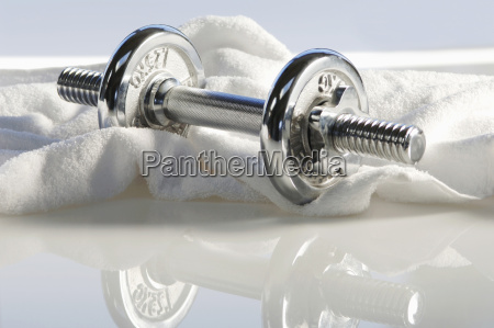 dumbbell on a towel close up