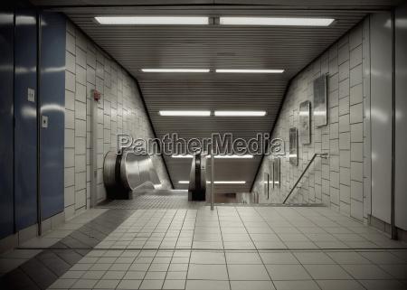 germany stuttgart empty escalator at underground