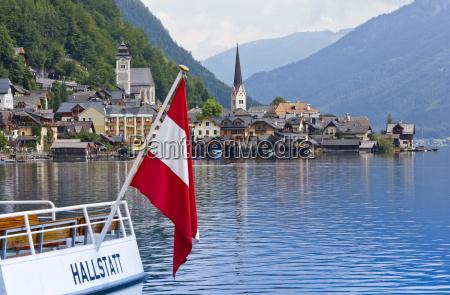 austria upper austria hallstatt boat with