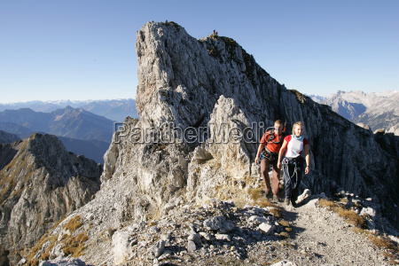 germany couple hiking mittenwald alps