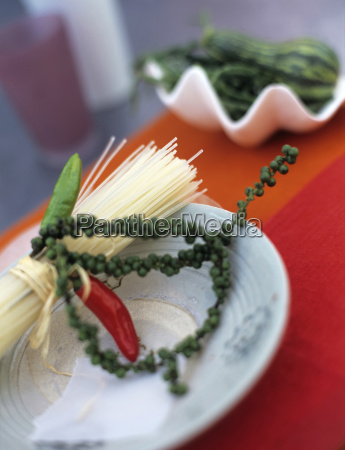 rice noodles with green chili pepper