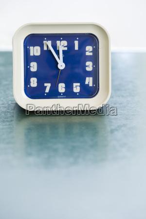 alarm clock on table close up