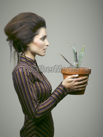 woman with agave portrait