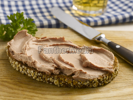 slice of bread with liverwurst and
