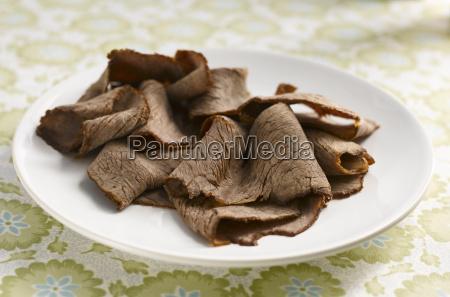 marinated beef carpaccio close up