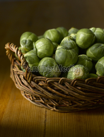 raw brussels sprouts in basket