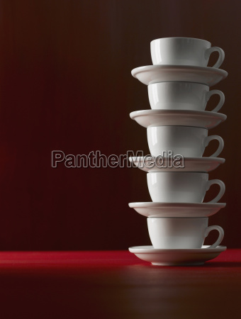 stacked coffee cups close up