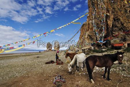 china tibet damxung namtso lake prayer