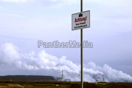 germany video surveillance sign at garzweiler