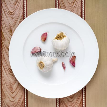 fresh garlic allium sativum on plate