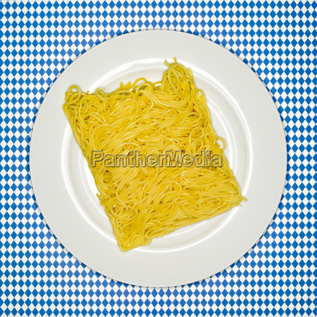 uncooked, spaghetti, on, plate, , elevated, view - 21179927