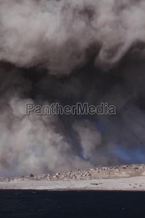 plymouth montserrat caribbean ash over clouds