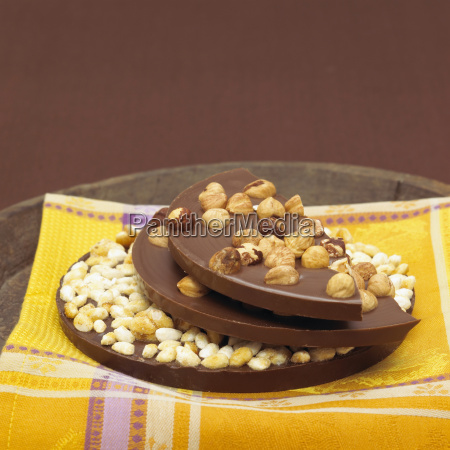 chocolate with hazelnuts close up