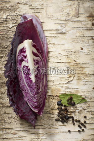 red cabbage ingredients elevated view