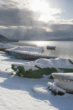 germany lake constance snow covered boats