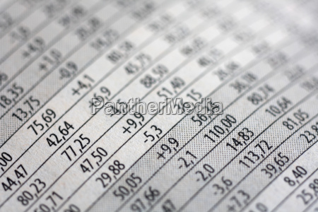 stocks listing close up