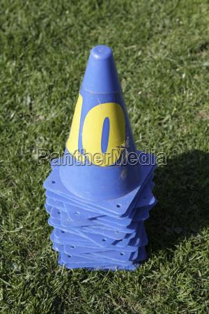 plastic cones on sports field close