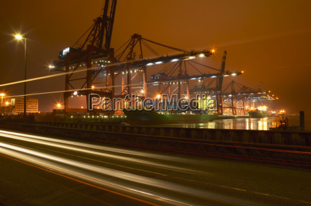 germany hamburg container harbour at night