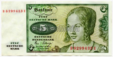 five deutschmark banknote close up