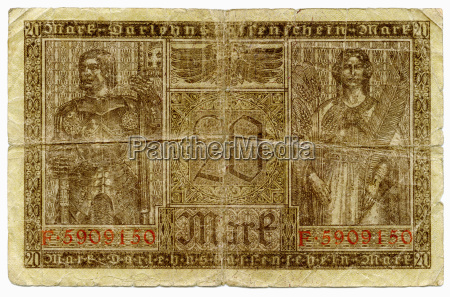 old german reichsmark banknote close up