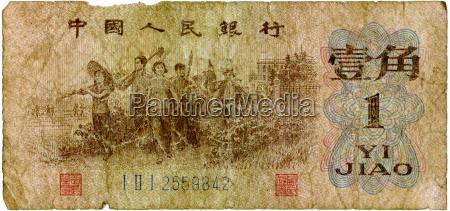 chinese yuan note close up