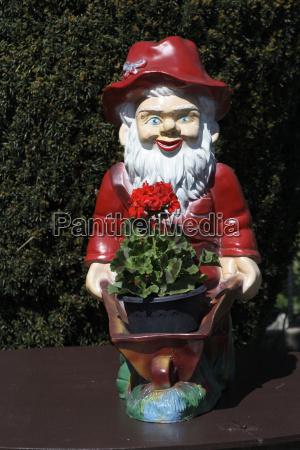 garden gnome outside close up