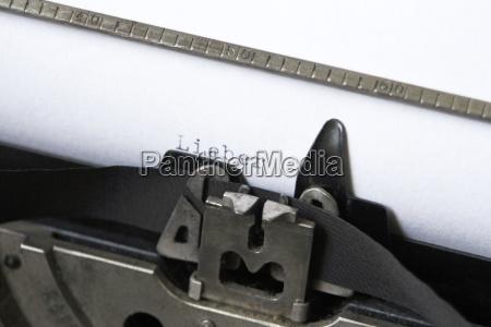 lieber typed on paper in typewriter